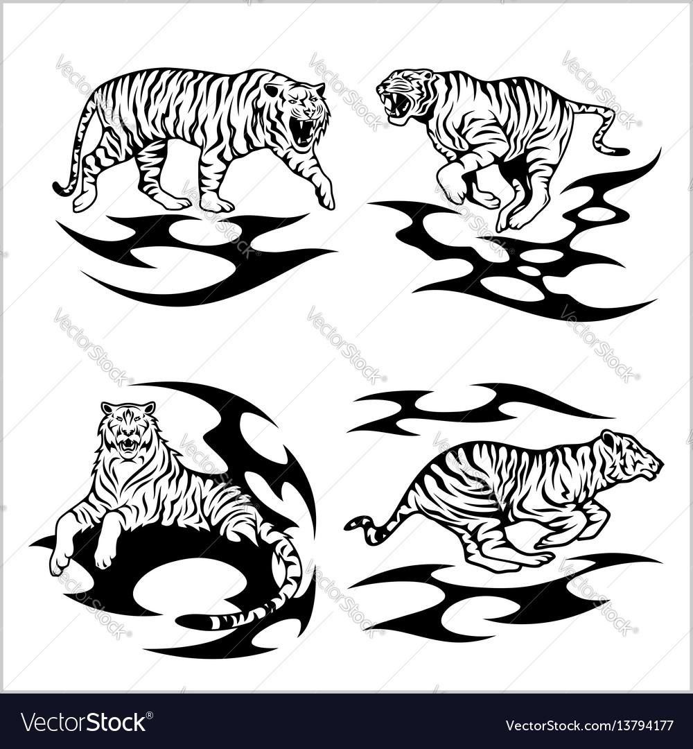 Tribal tigers - set vector image