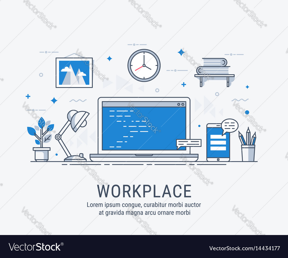 Workplace for web vector image