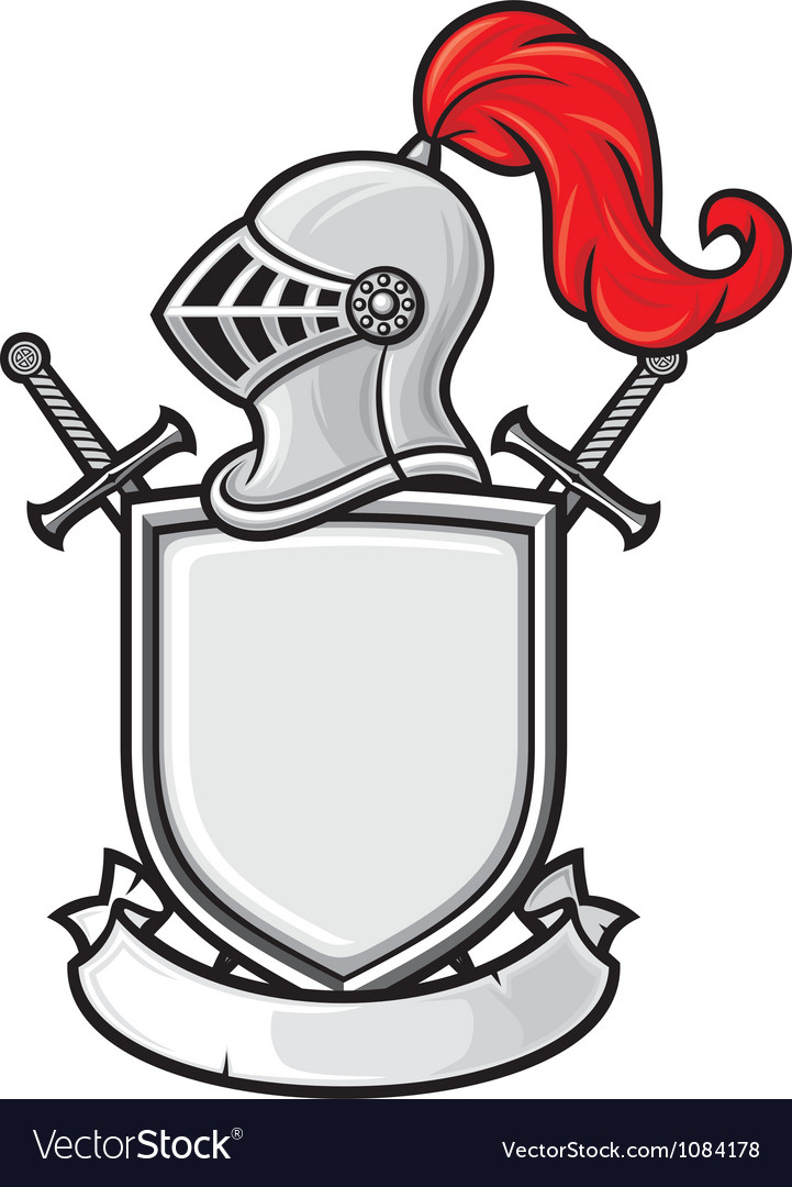 Medieval knight helmet shield crossed swords and vector image