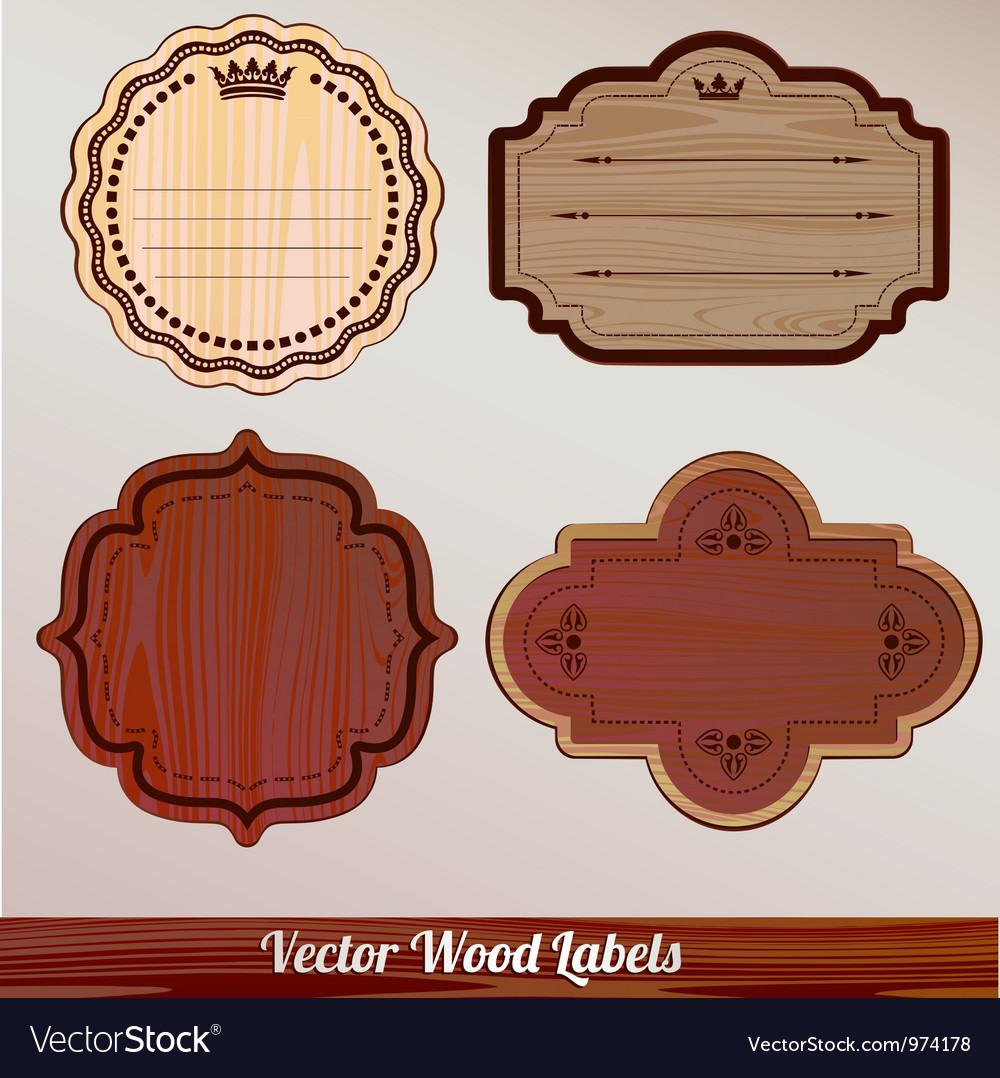 Set Wooden labels classic vintage retro vector image