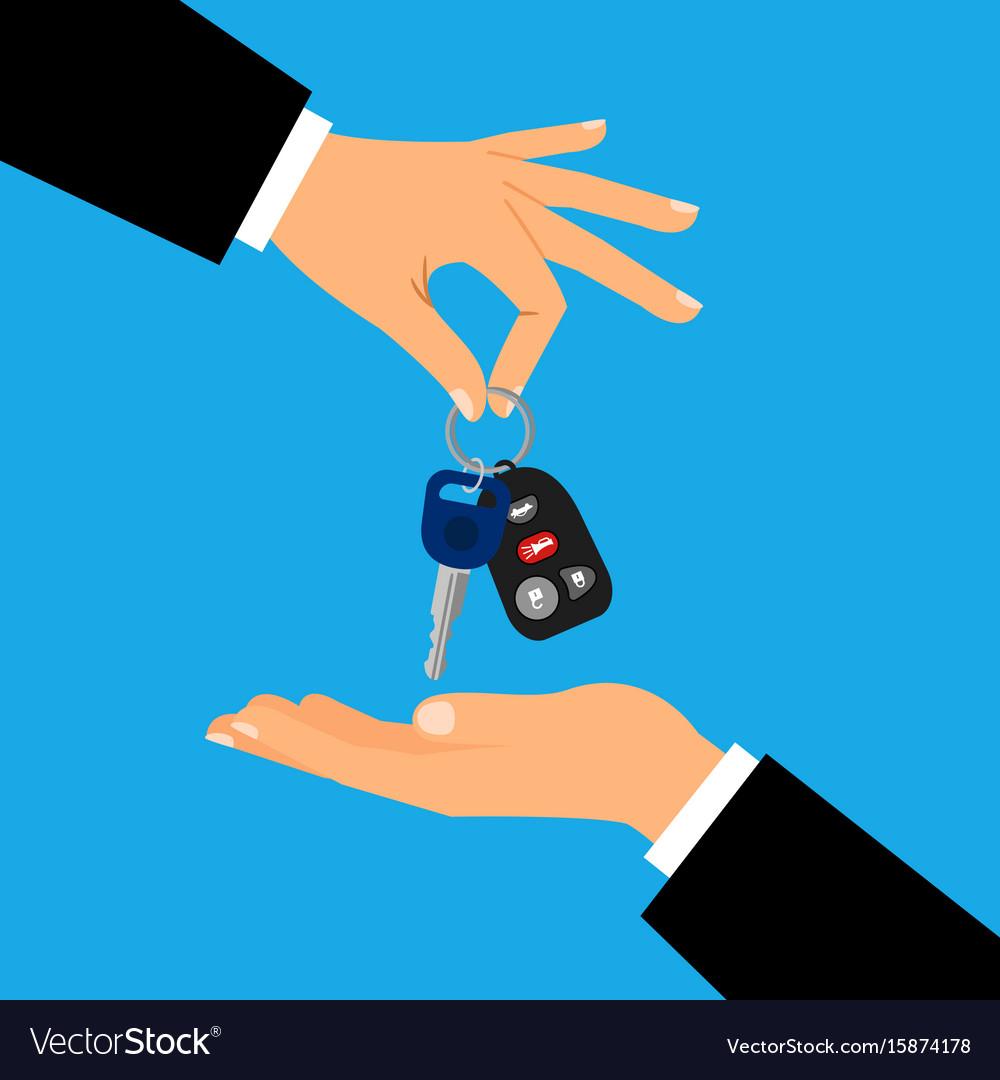 Car keys with men hands vector image