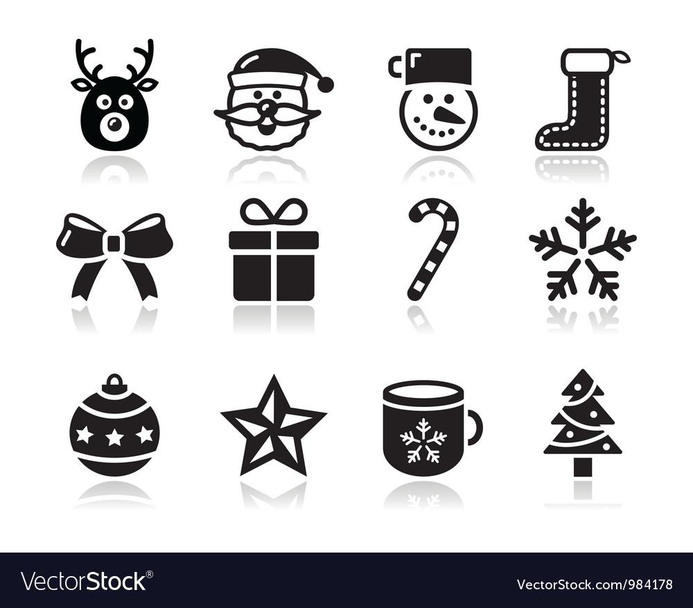 Christmas black icons with shadow set - santa vector image
