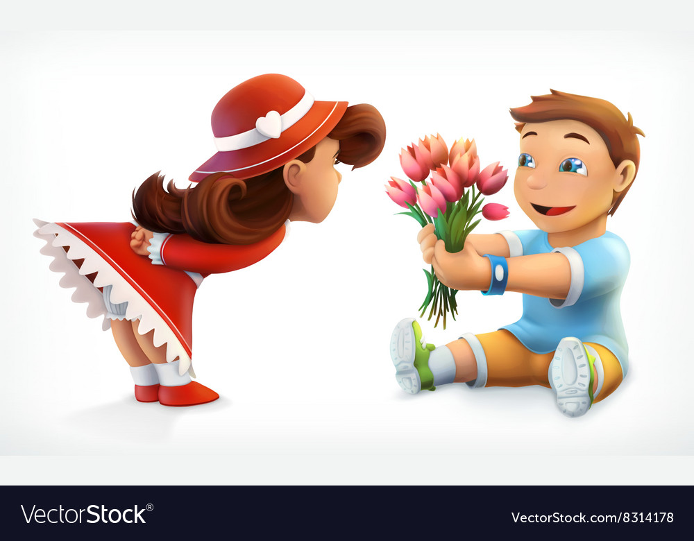 Girl and boy with bouquet of flowers vector image