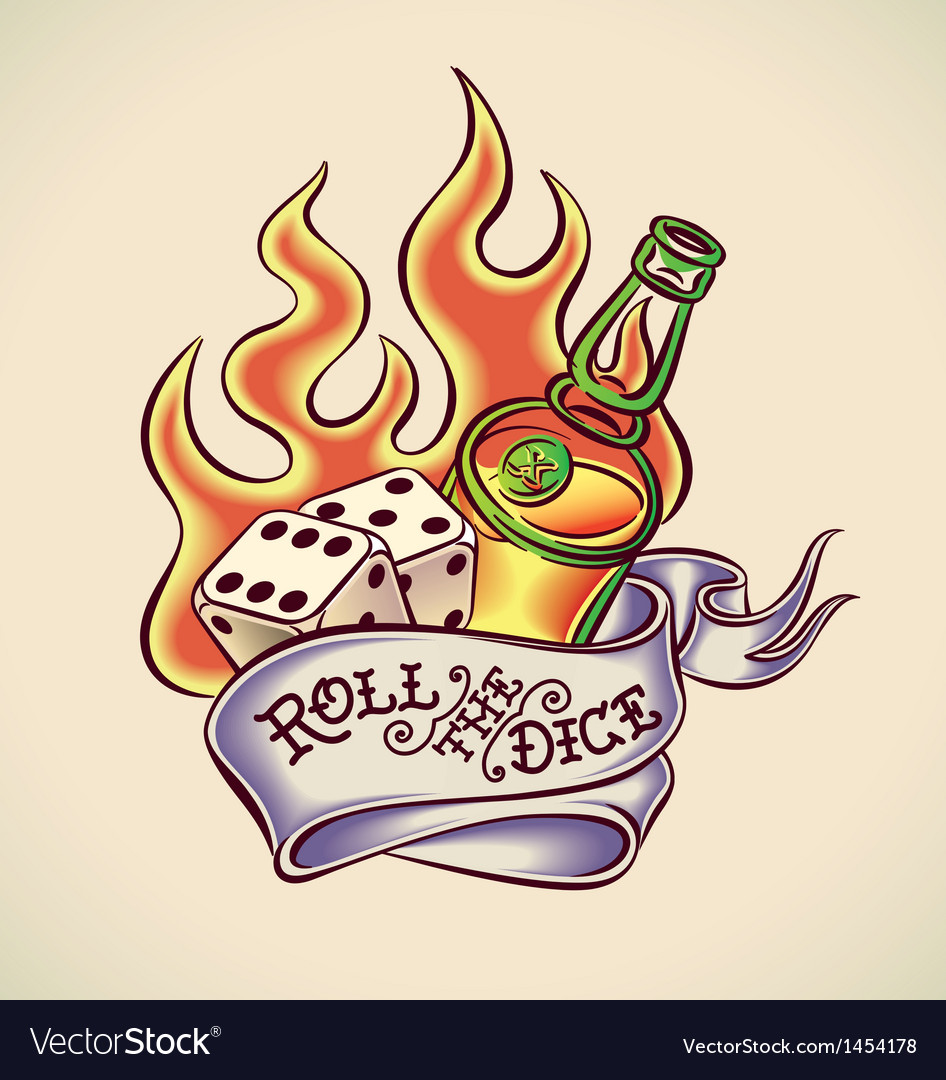 Roll the dice - tattoo design vector image