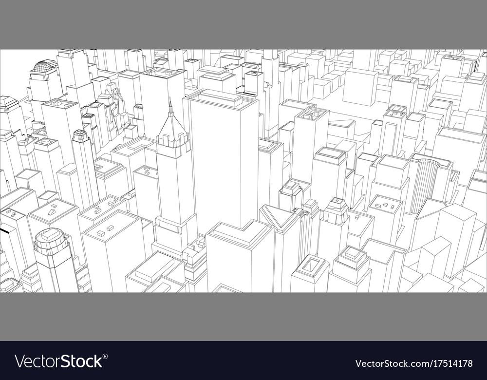 Wire frame new york city blueprint style vector image malvernweather Gallery