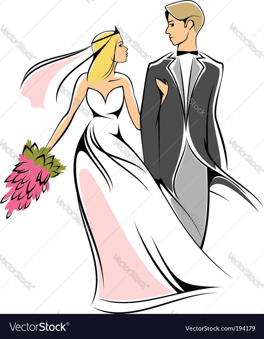 Cartoon bride and groom vector image