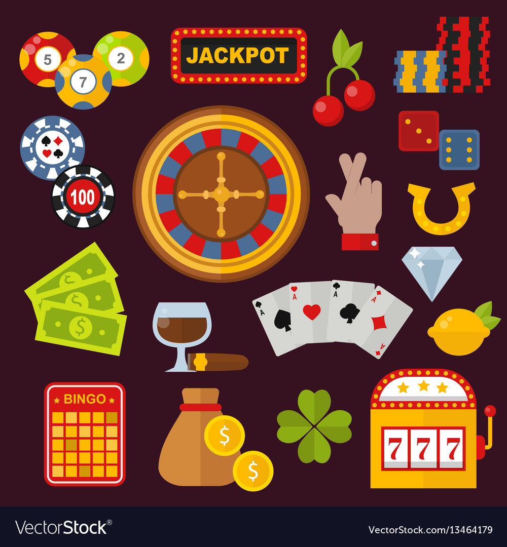 Casino icons set with roulette gambler joker slot vector image