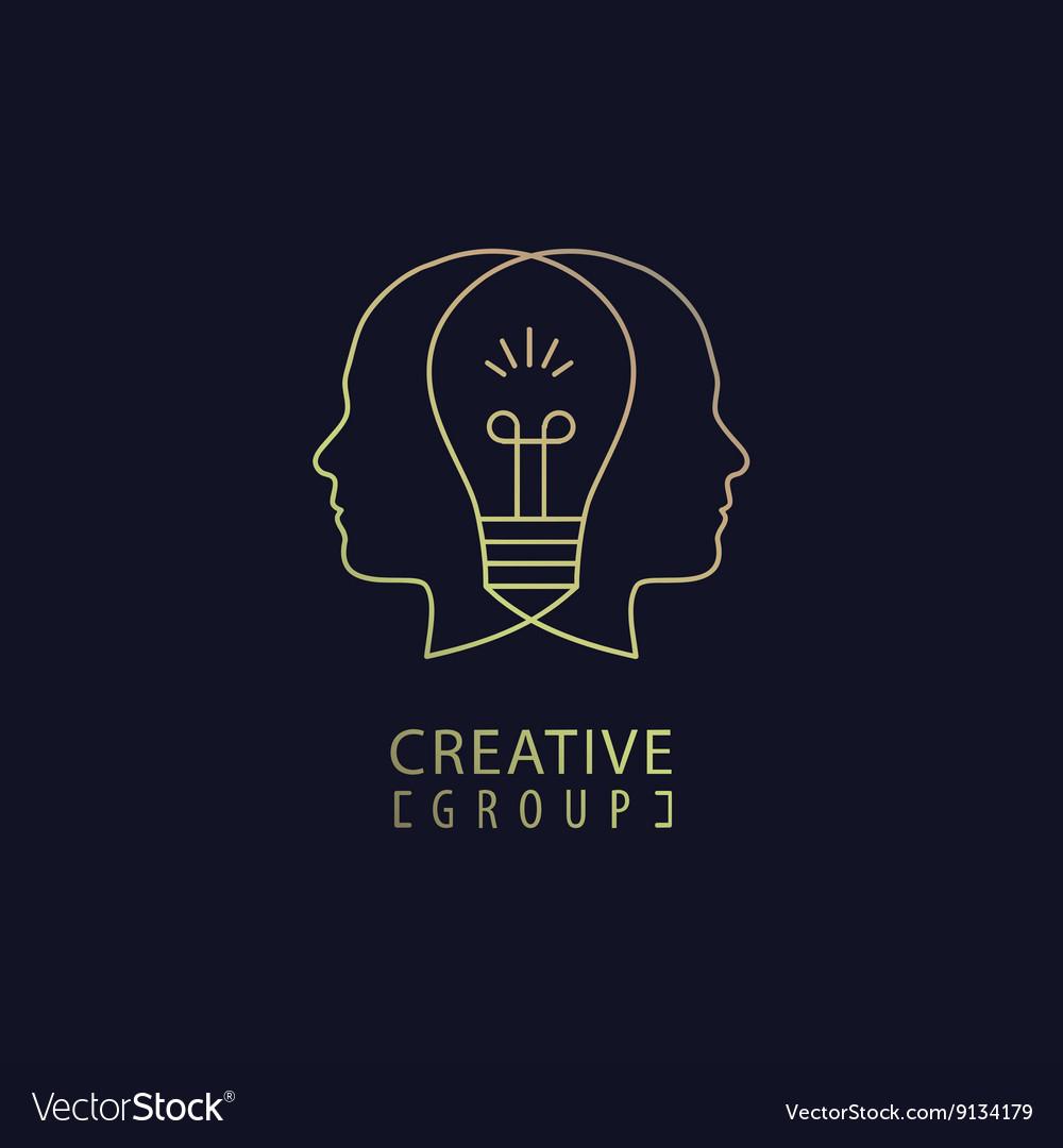 Creative mind logo group vector image