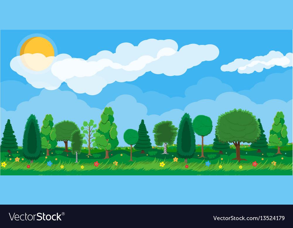 Summer nature landscape national park vector image