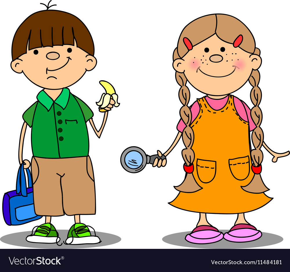 Cute School Boy and School Girl Drawing vector image