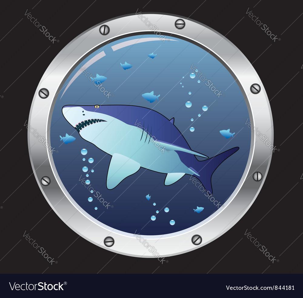 Porthole and a shark vector image