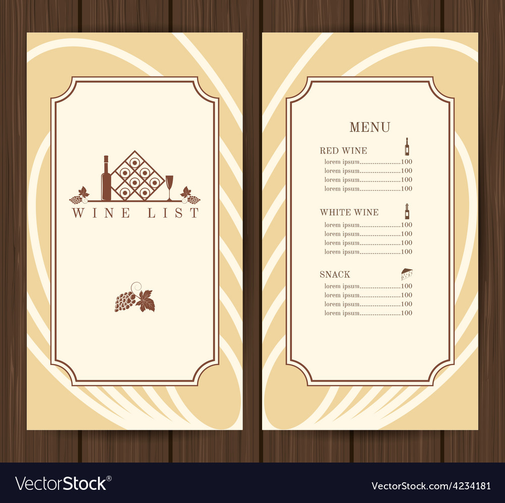 wine menu template royalty free vector image vectorstock. Black Bedroom Furniture Sets. Home Design Ideas