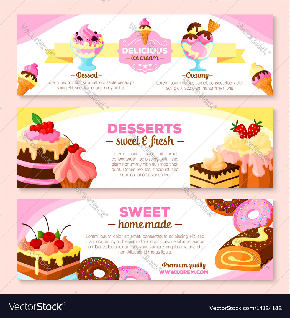 Banners set for homemade bakery desserts vector image