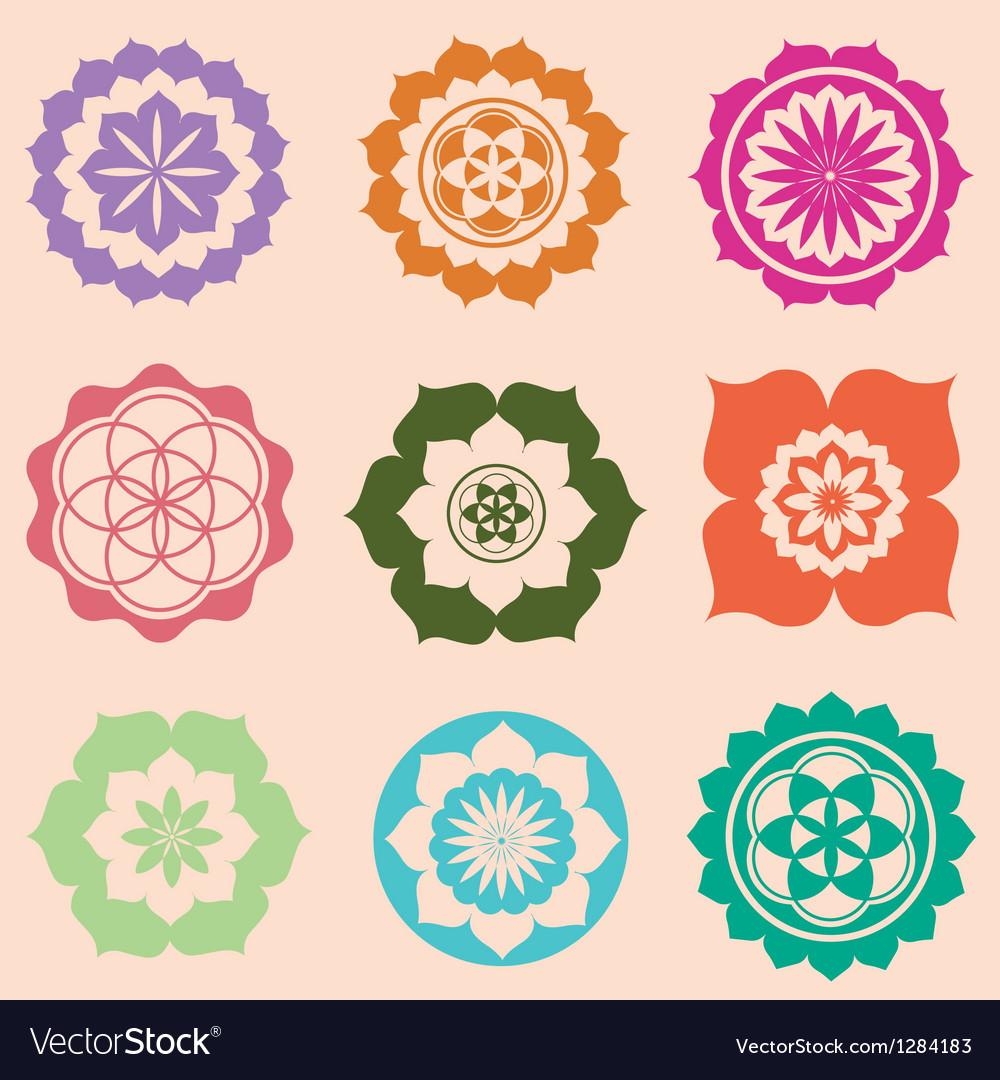 Life seed mandalas designs vector image
