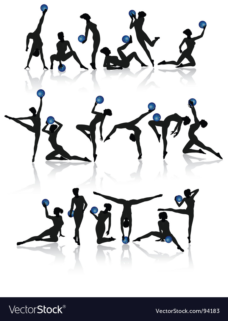 Gymnast girl collection vector image