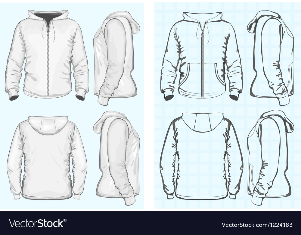 Mens hooded sweatshirt with zipper vector image