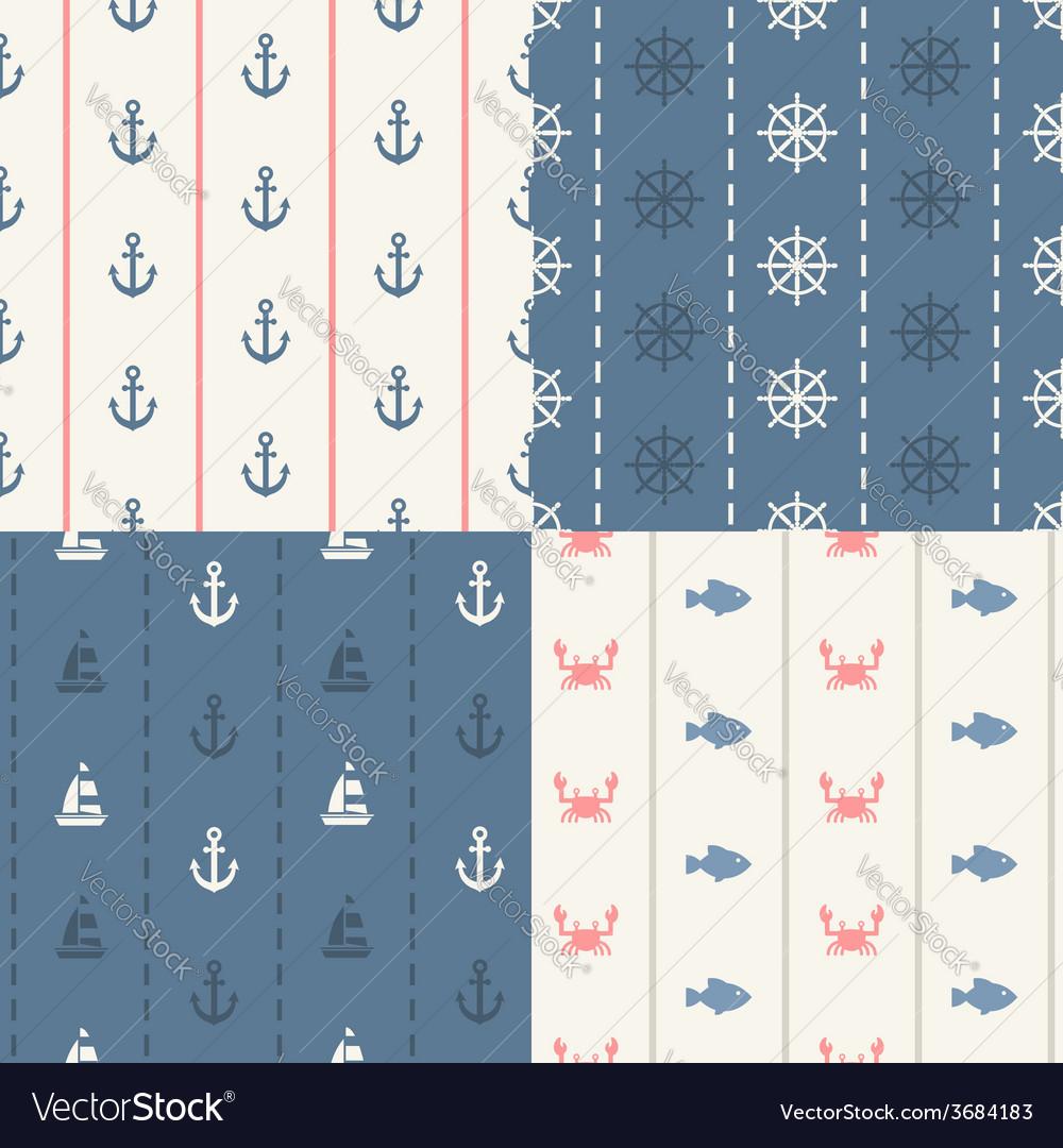 Vintage flat design modern nautical marine patt vector image