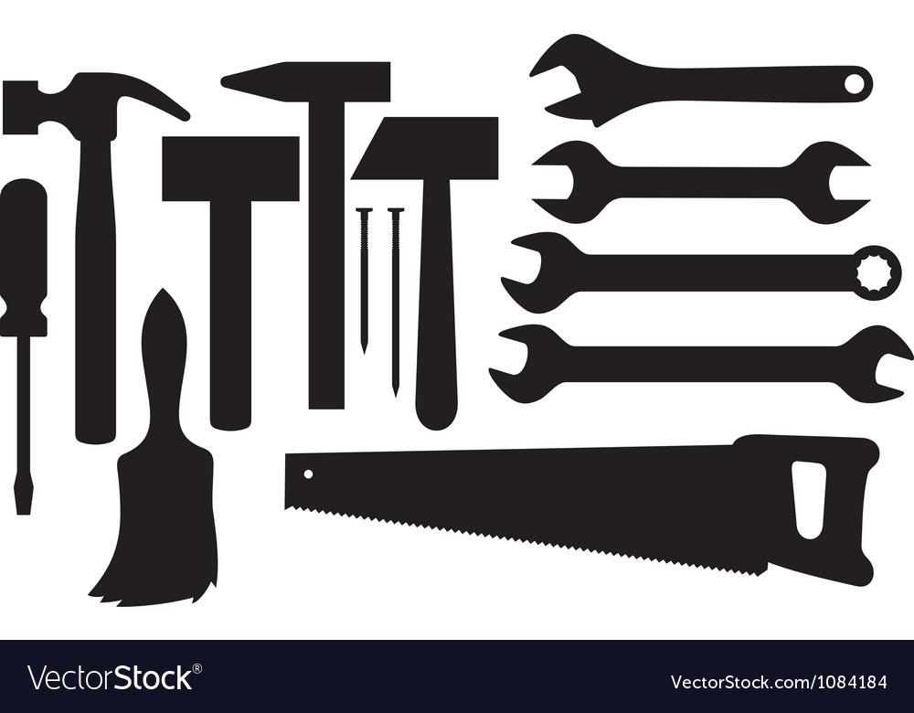 Black silhouettes of hand tools vector image