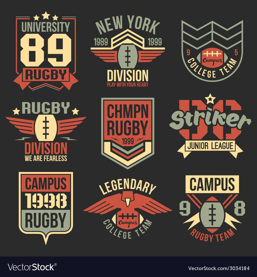 College rugby team emblems vector image