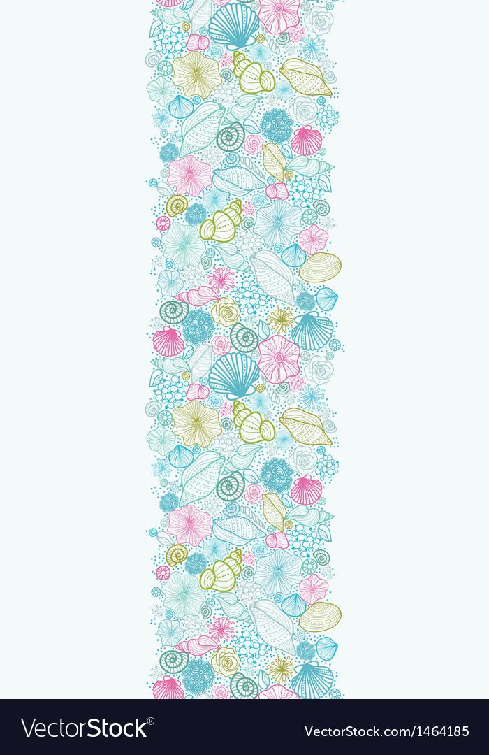 Seashells line art vertical seamless pattern vector image
