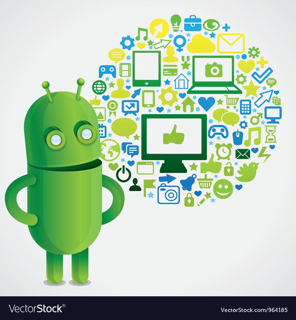 Funny green robot with social media concept vector image