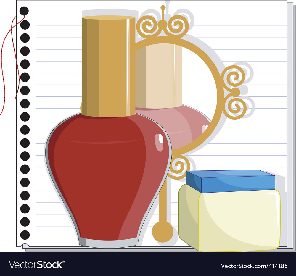 Mirror and nail polish vector image