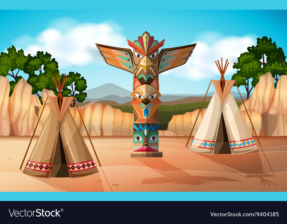 Scene with teepee and totem pole vector image