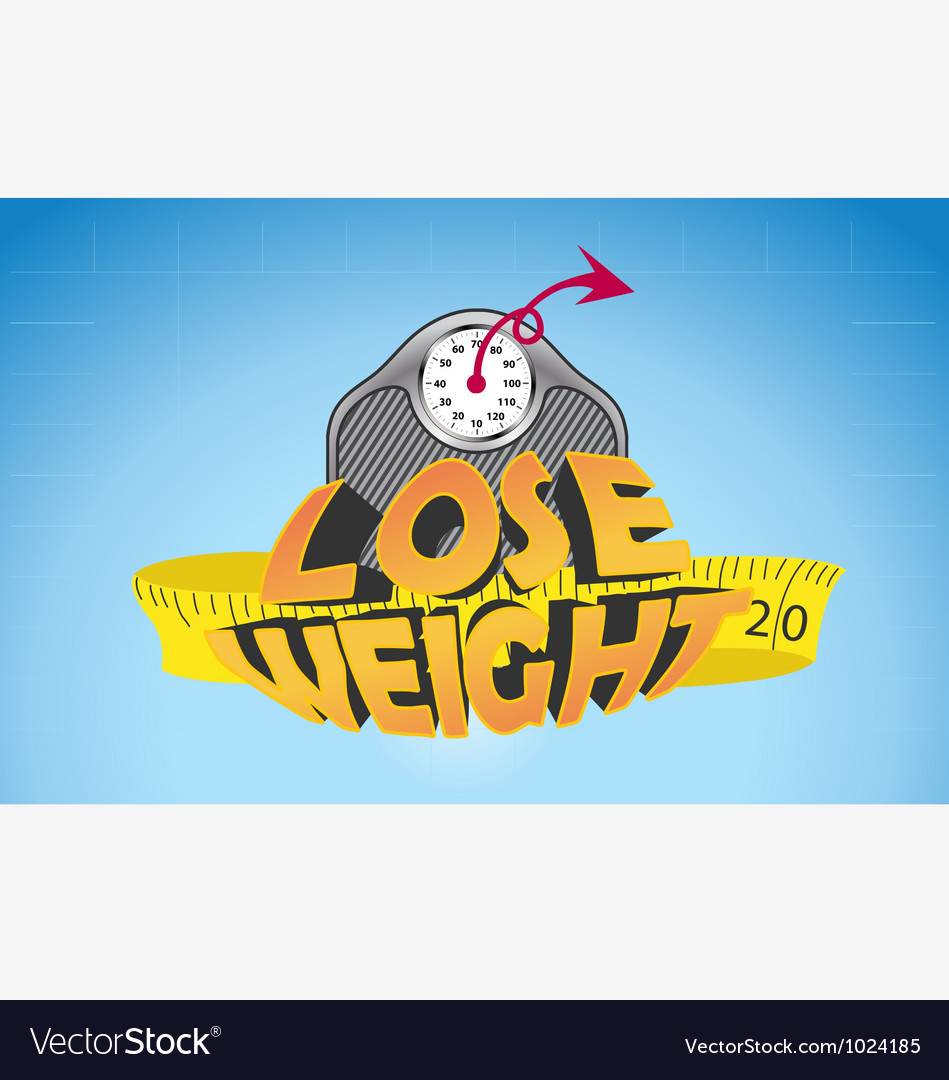 Text lose weight with weigh scale and measure tape vector image
