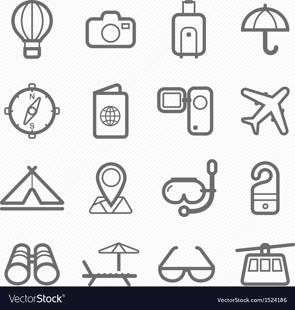 Travel symbol line icon set vector image
