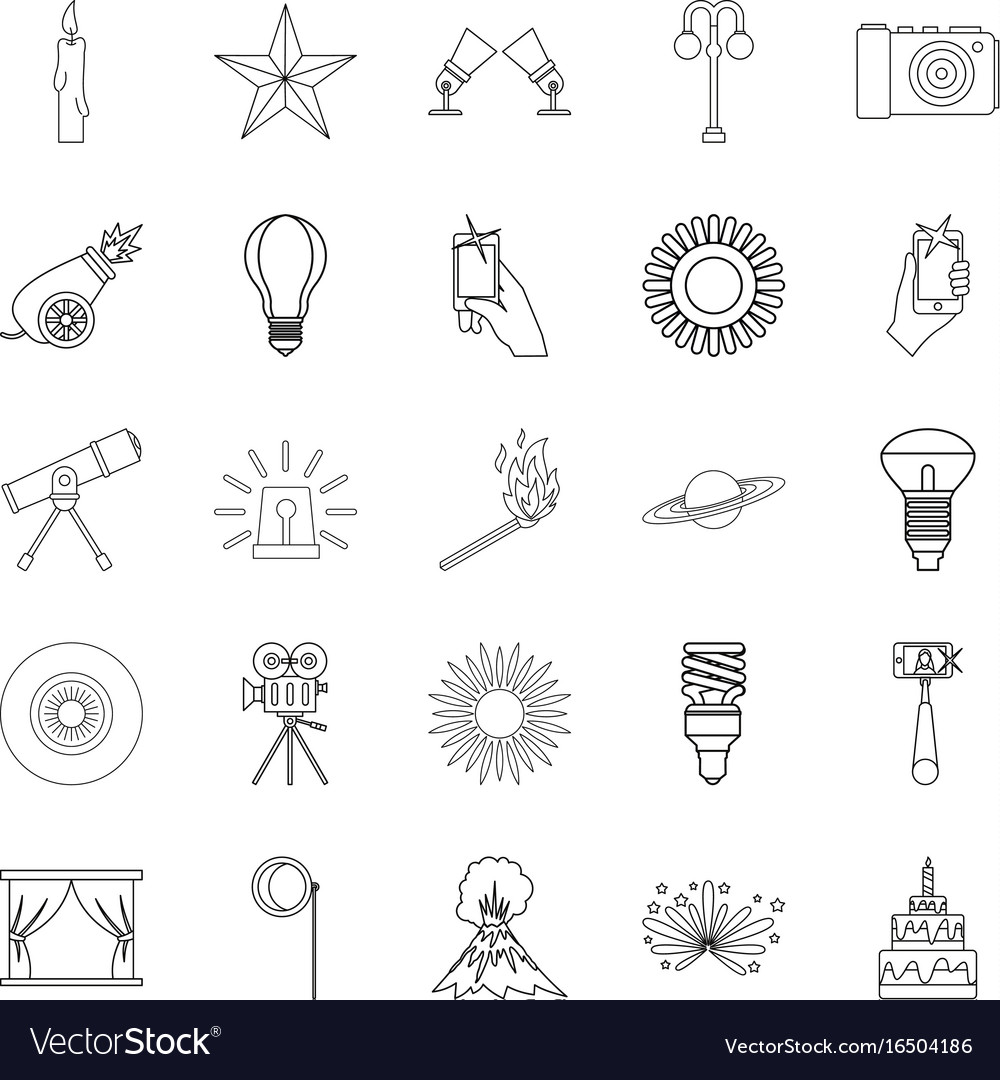 Burst icons set outline style vector image