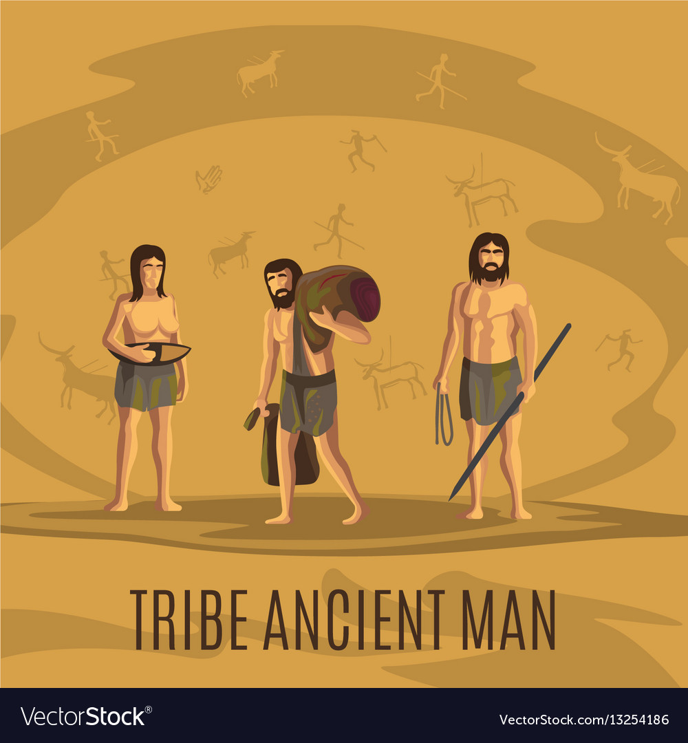 Tribe ancient people in cave vector image