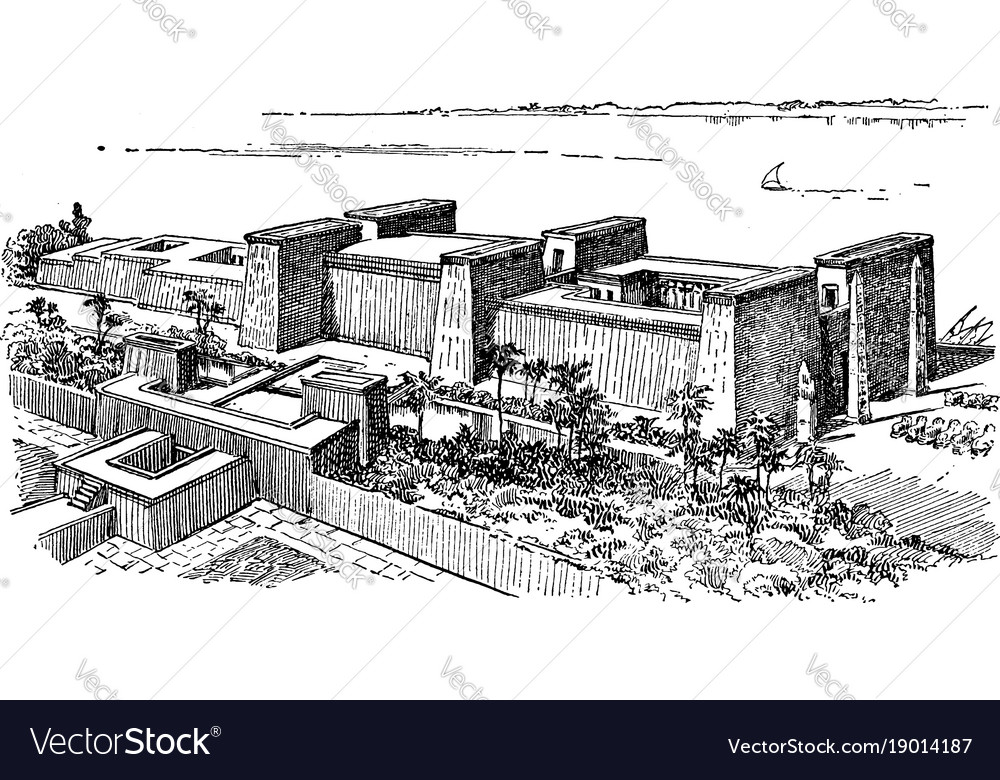 Luxor temple ancient egypt vintage engraving vector image ccuart Choice Image