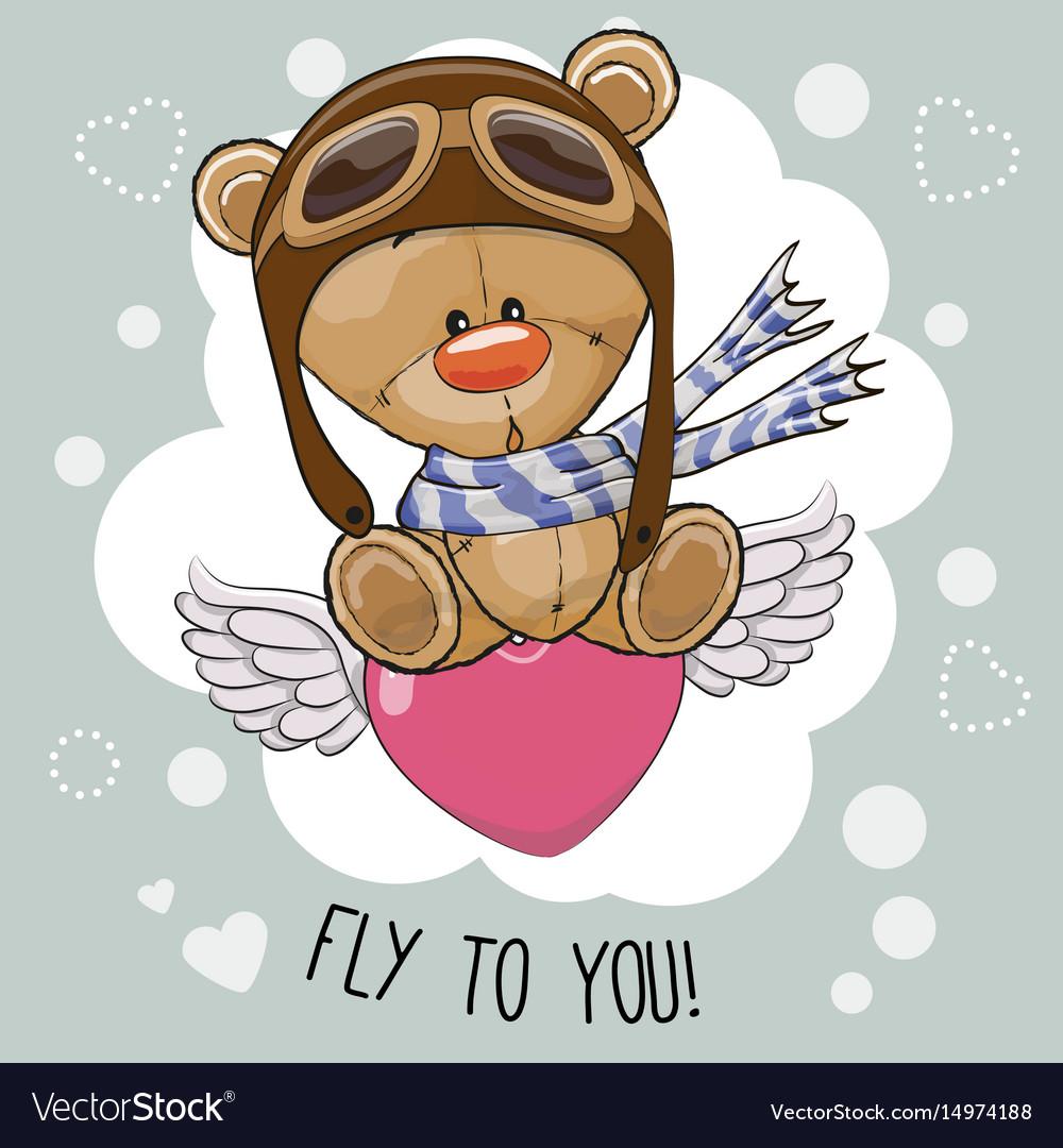 Cute cartoon teddy bear in a pilot hat vector image