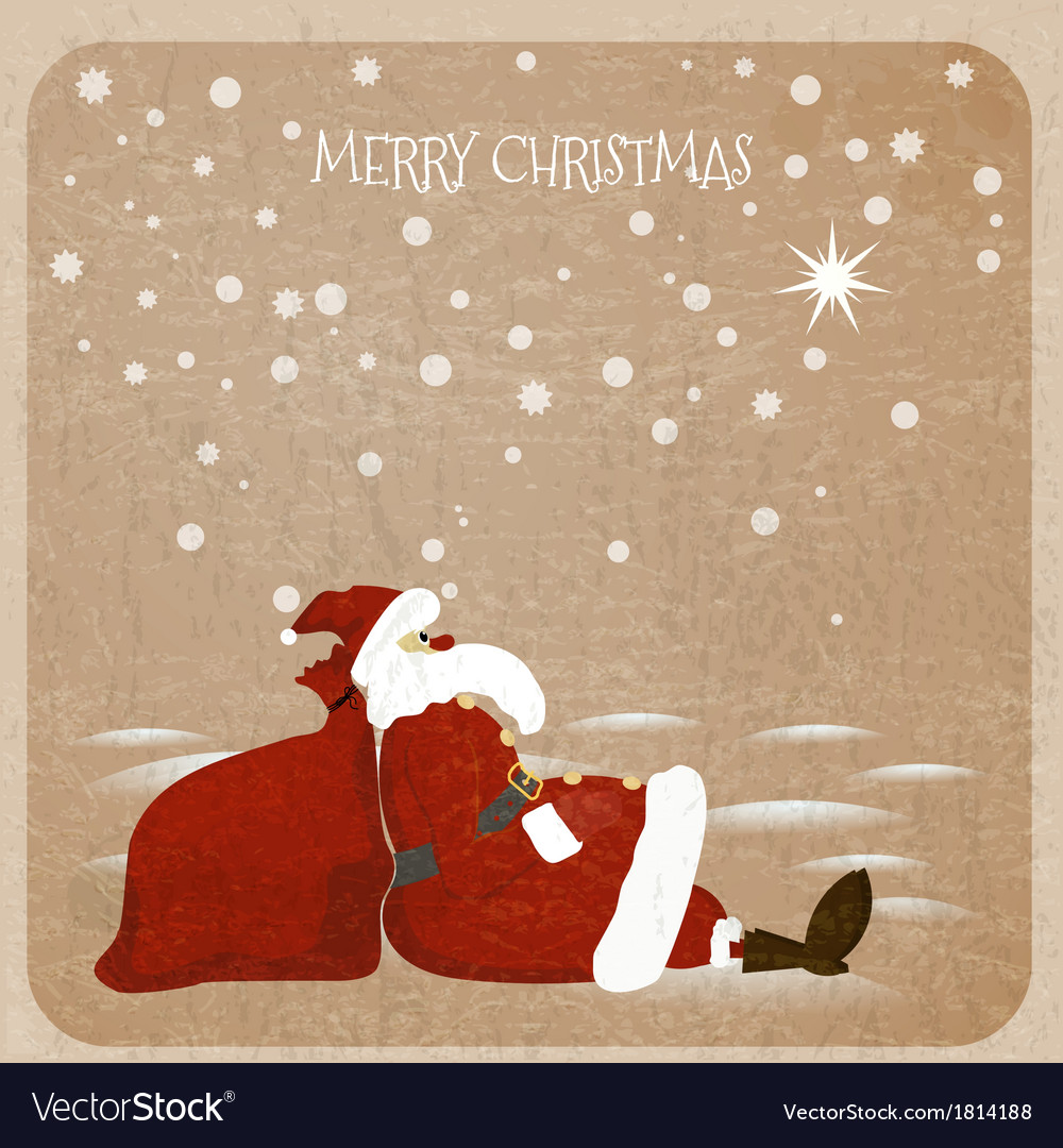 Holidaymaker Santa Claus with red bag for presents vector image