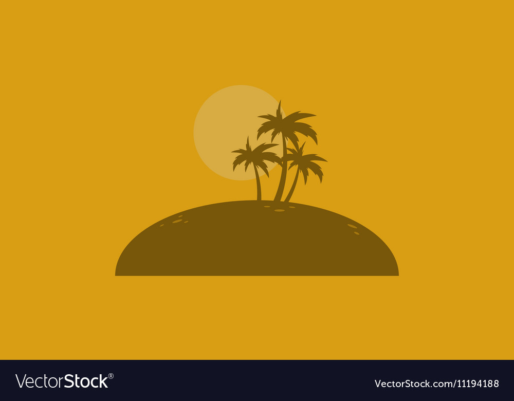 Silhouette of palm on the islands vector image