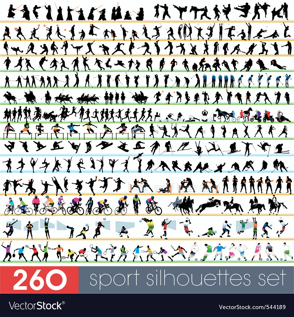 260 sport silhouettes set vector image