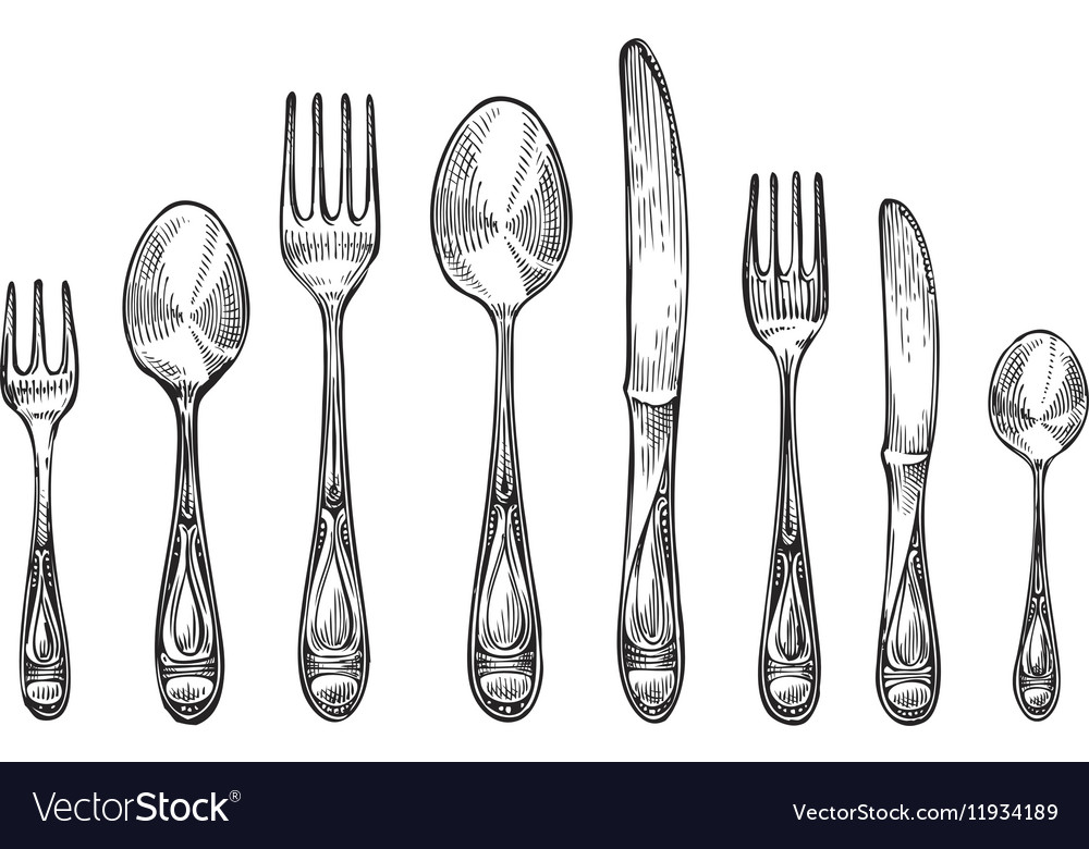 Cutlery set spoons forks and knifes top view vector image
