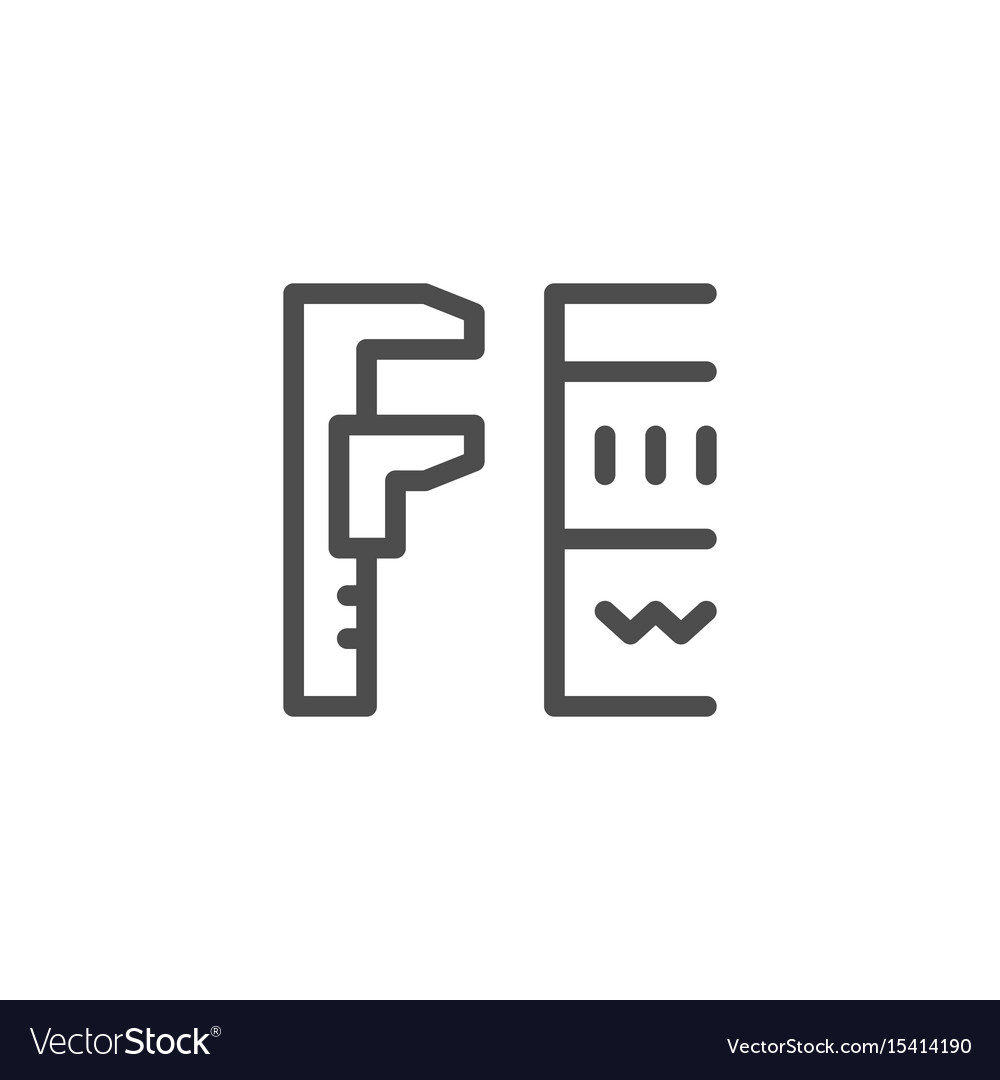 Insulation size line icon vector image