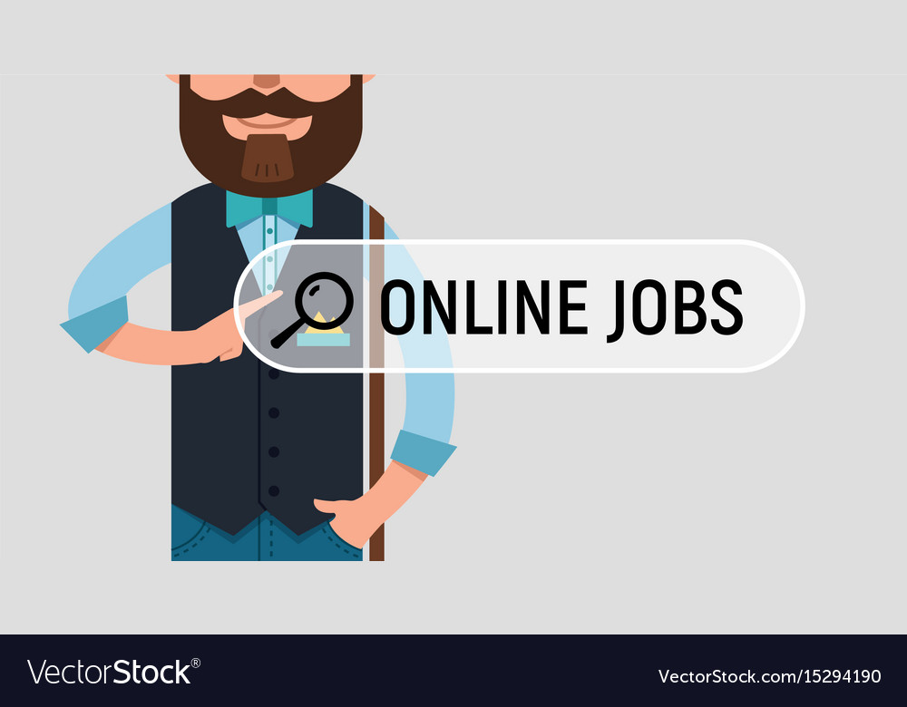 man is writing online job on virtual screen vector image man is writing online job on virtual screen vector image