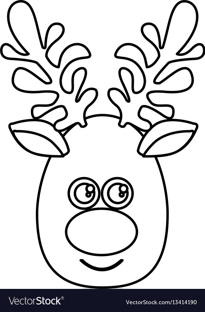 Silhouette cartoon cute face reindeer animal vector image