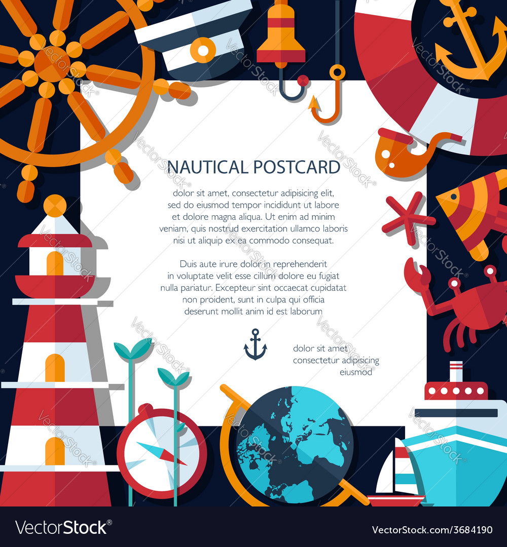Vintage flat design modern nautical marine post vector image