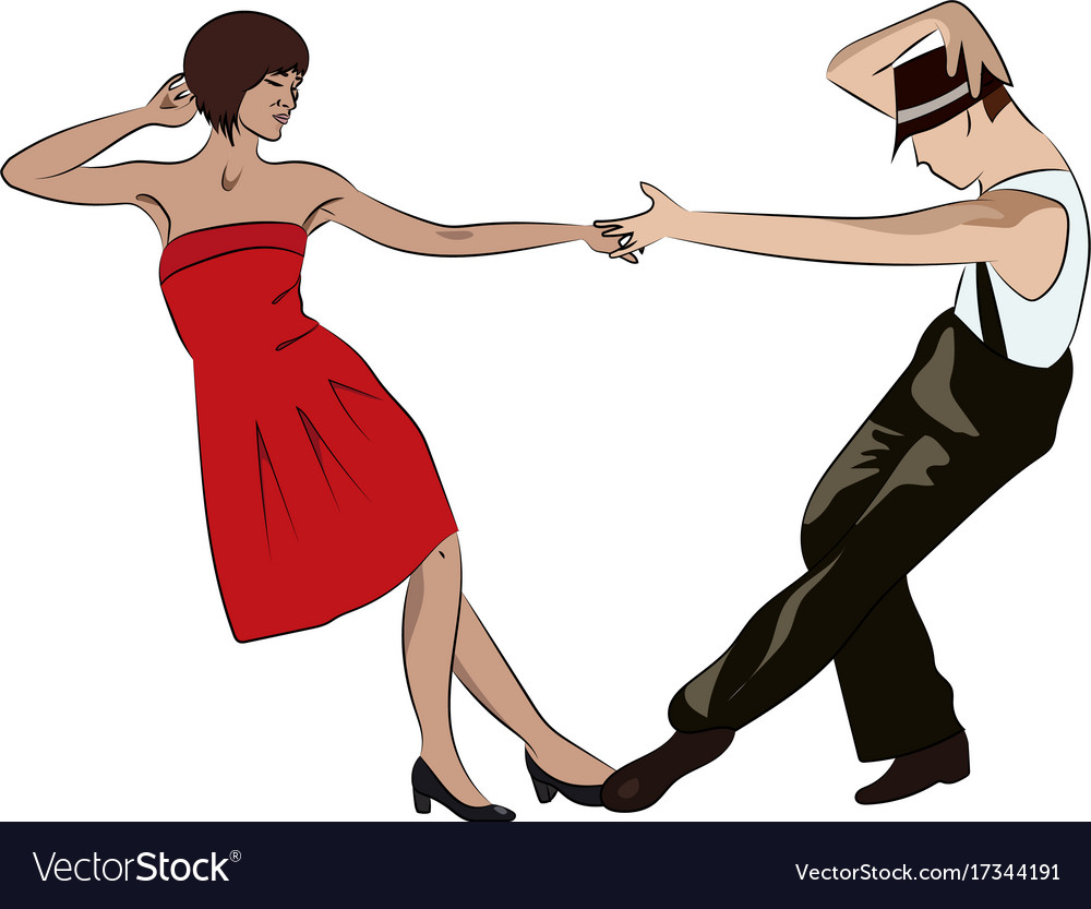 Couple man and woman dancing vintage dance pop vector image