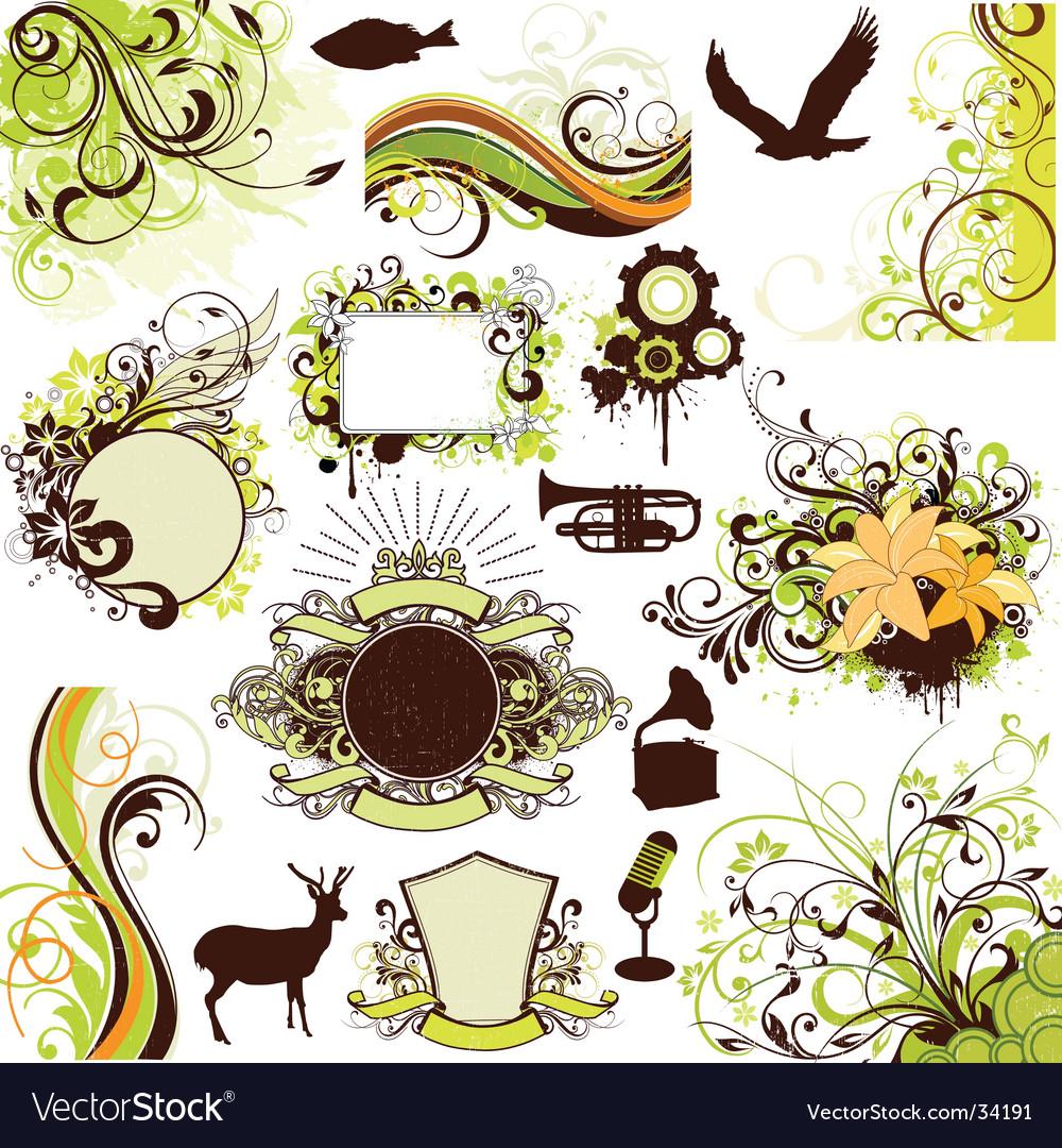 Floral grunge design elements set vector image