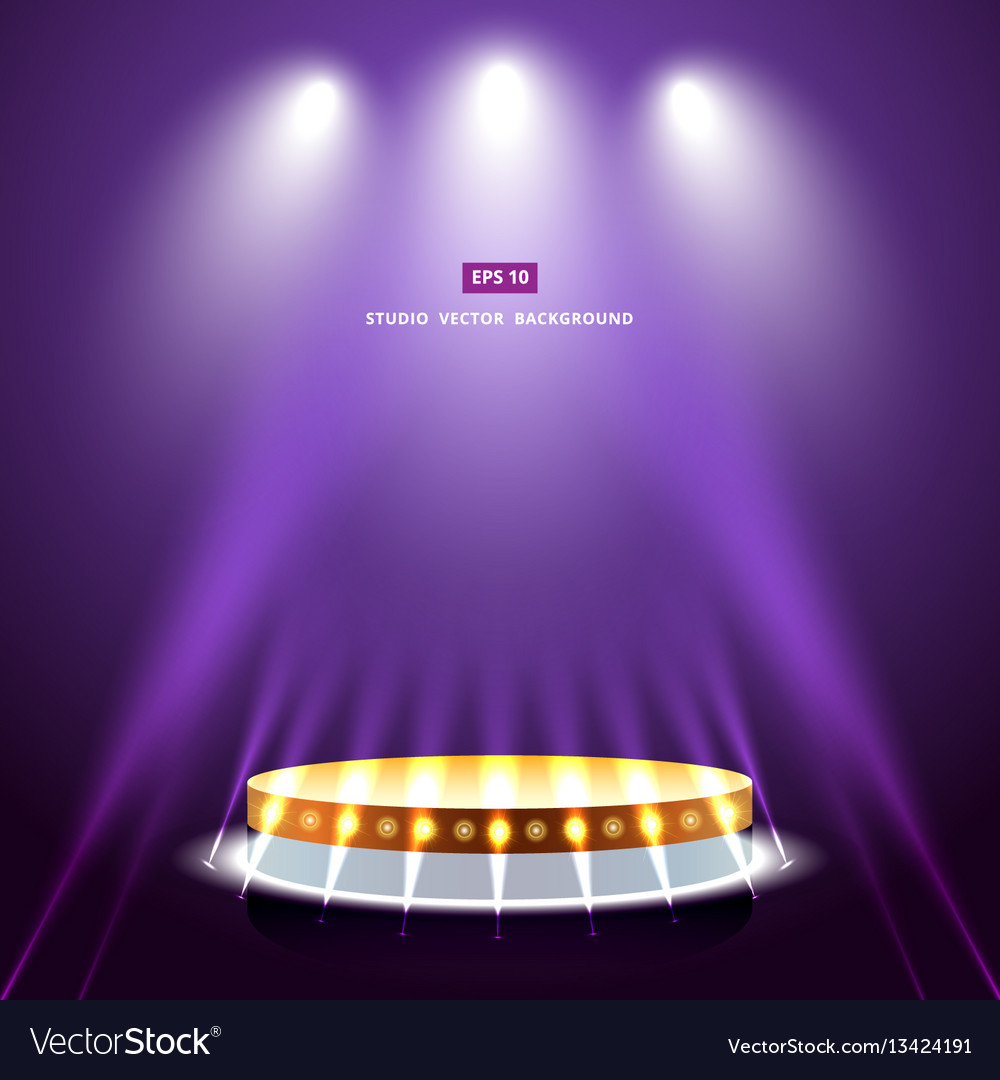Studio purple background with lighting and gold vector image