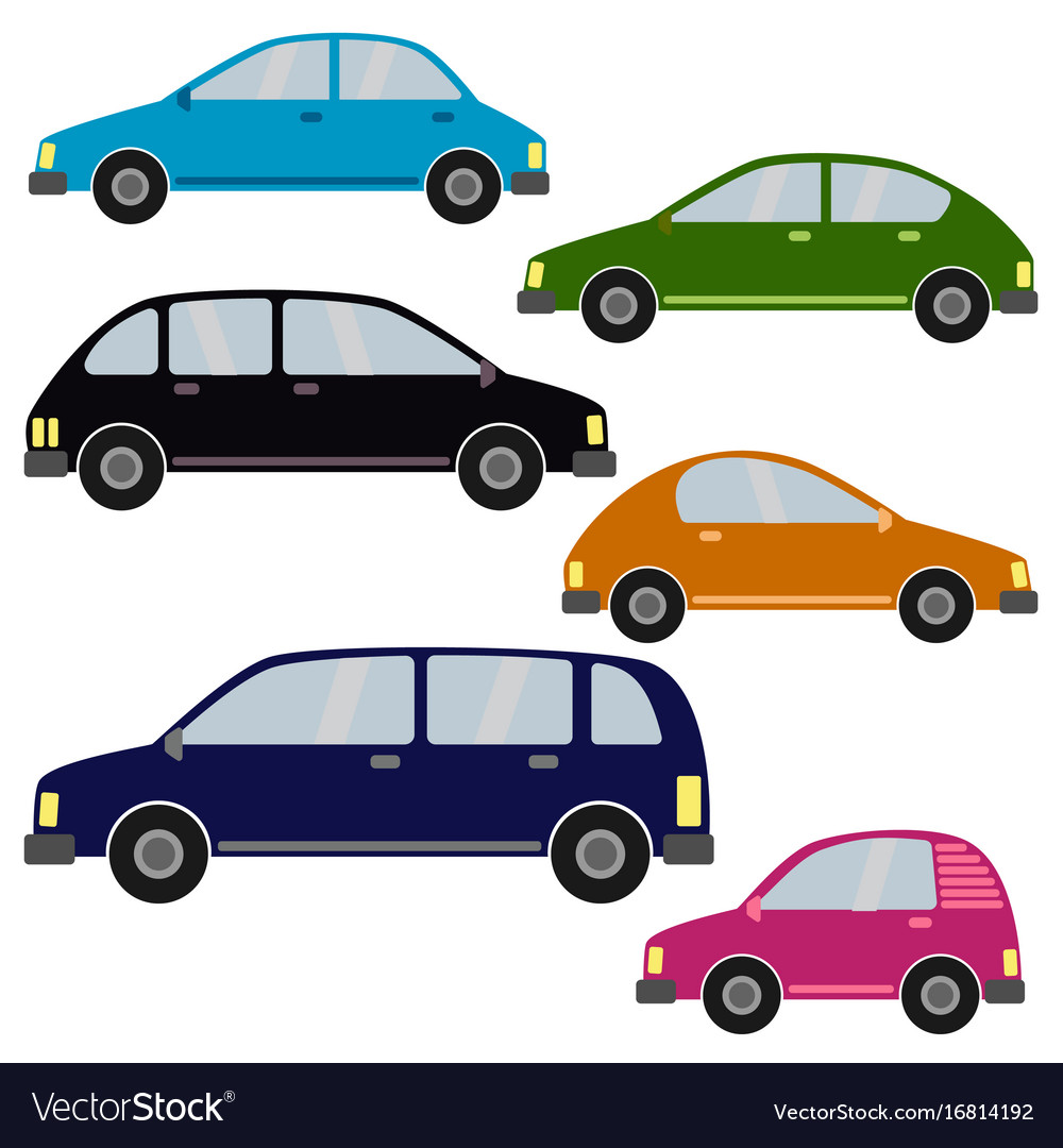 Set of different car types vector image