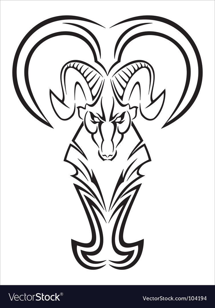 Aries tattoo vector image