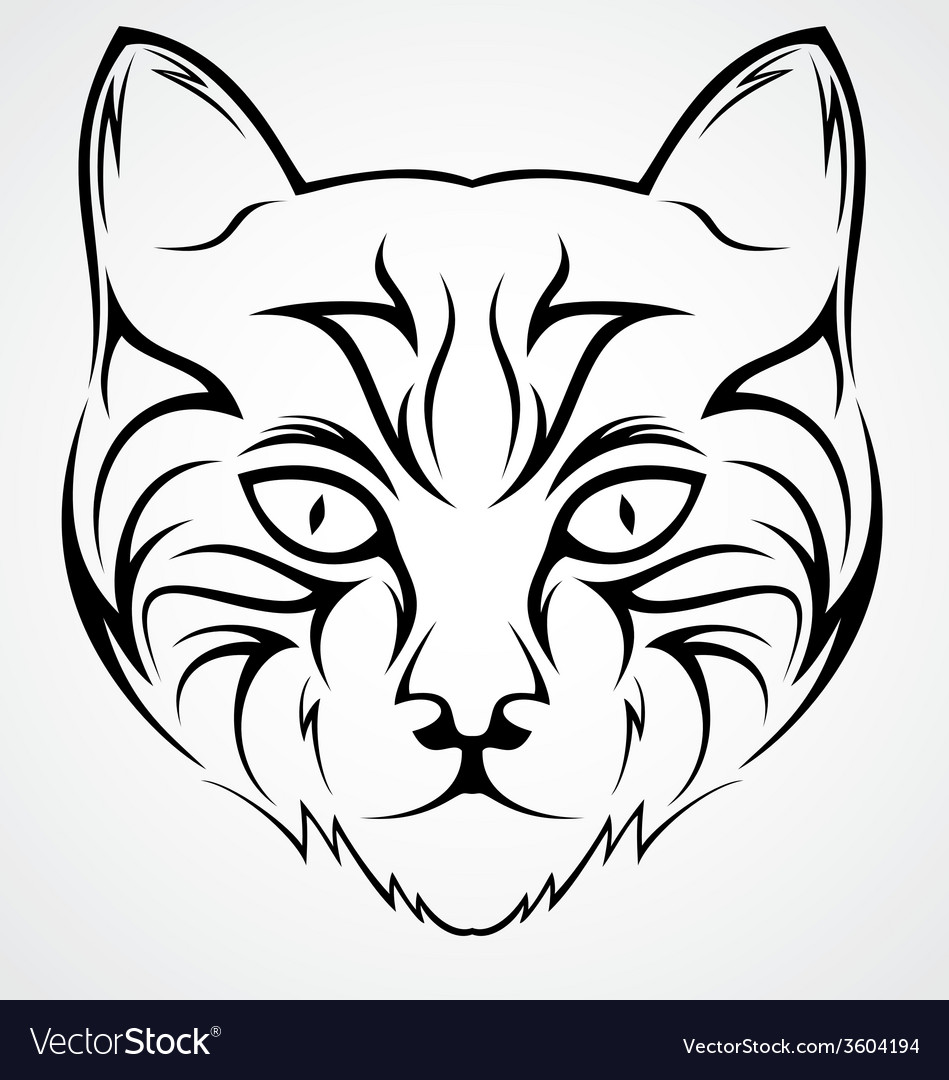 Cat Face Tattoo Design vector image