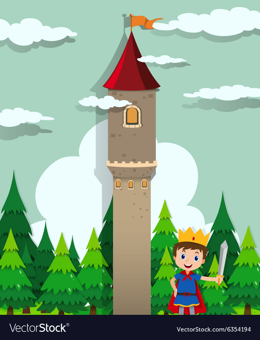 Prince and castle tower vector image