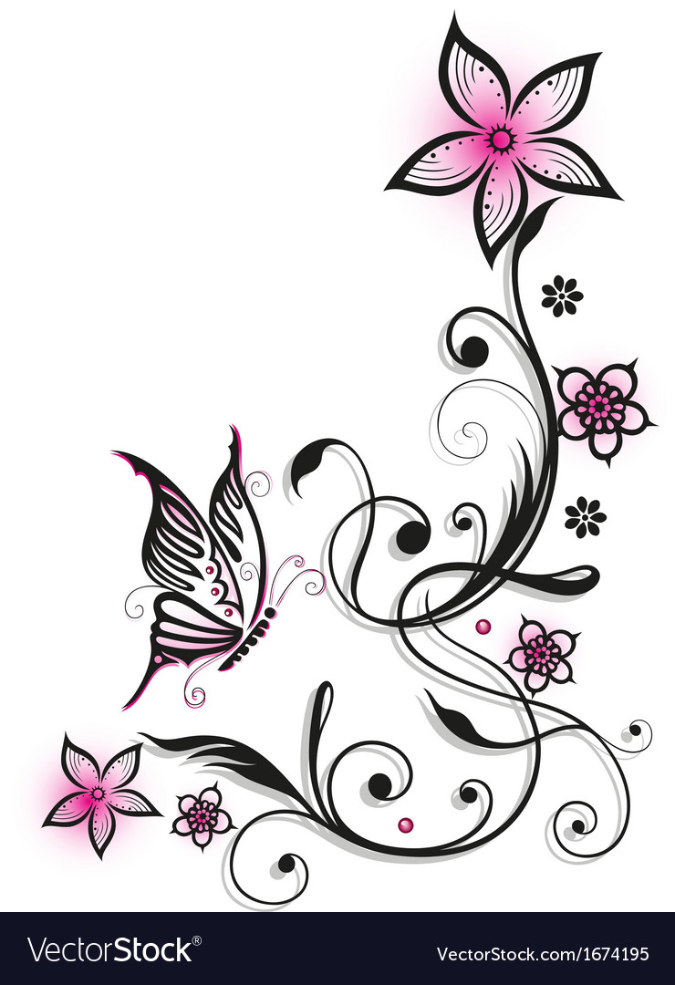 Pink and black flowers royalty free vector image pink and black flowers vector image dhlflorist Choice Image