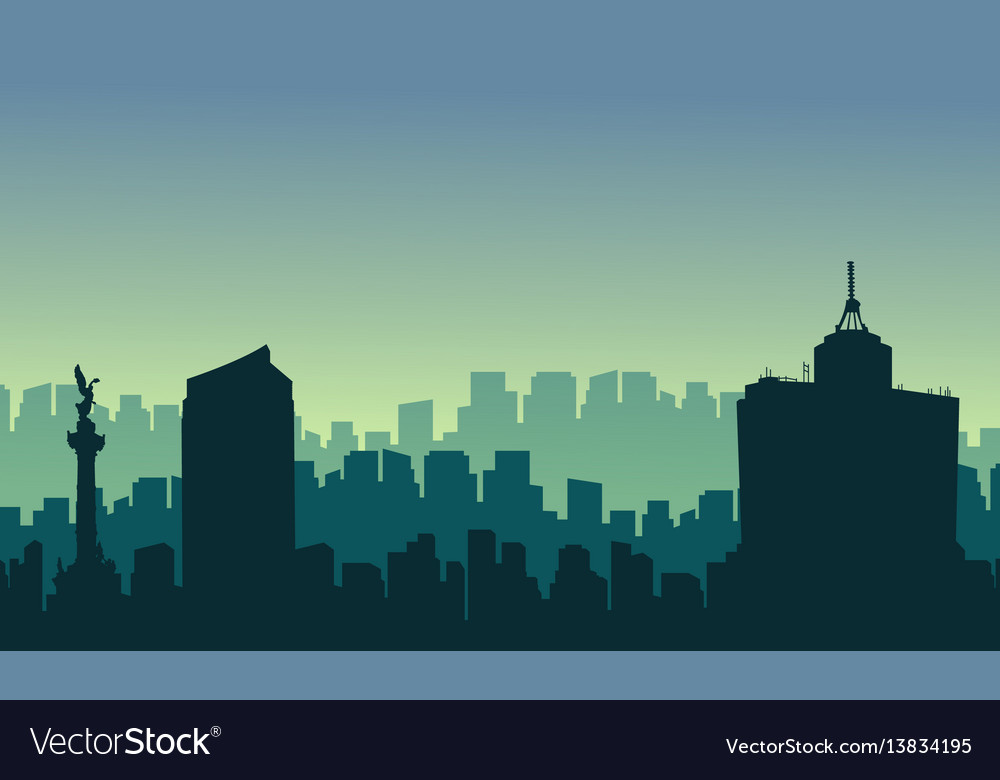 Scenery mexico city skyline silhouettes vector image